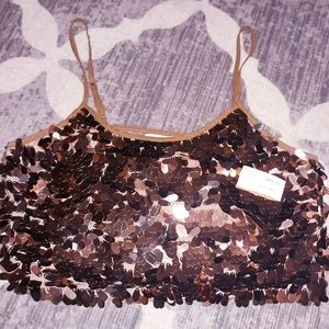 New UMGEE Cropped Sequined Lace Top